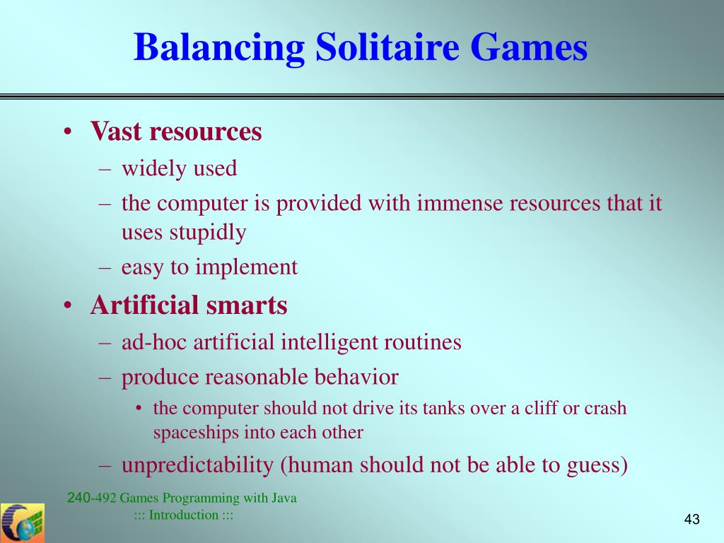 Balancing Solitaire Games