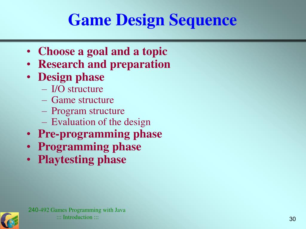 Game Design Sequence