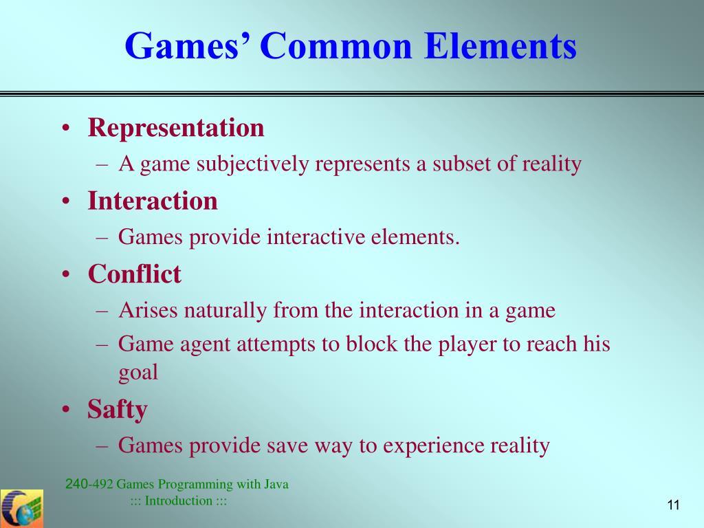 Games' Common Elements