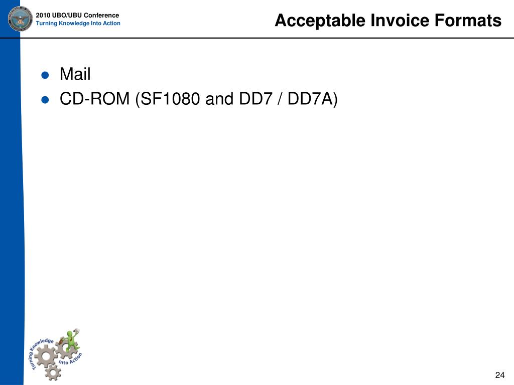 Acceptable Invoice Formats