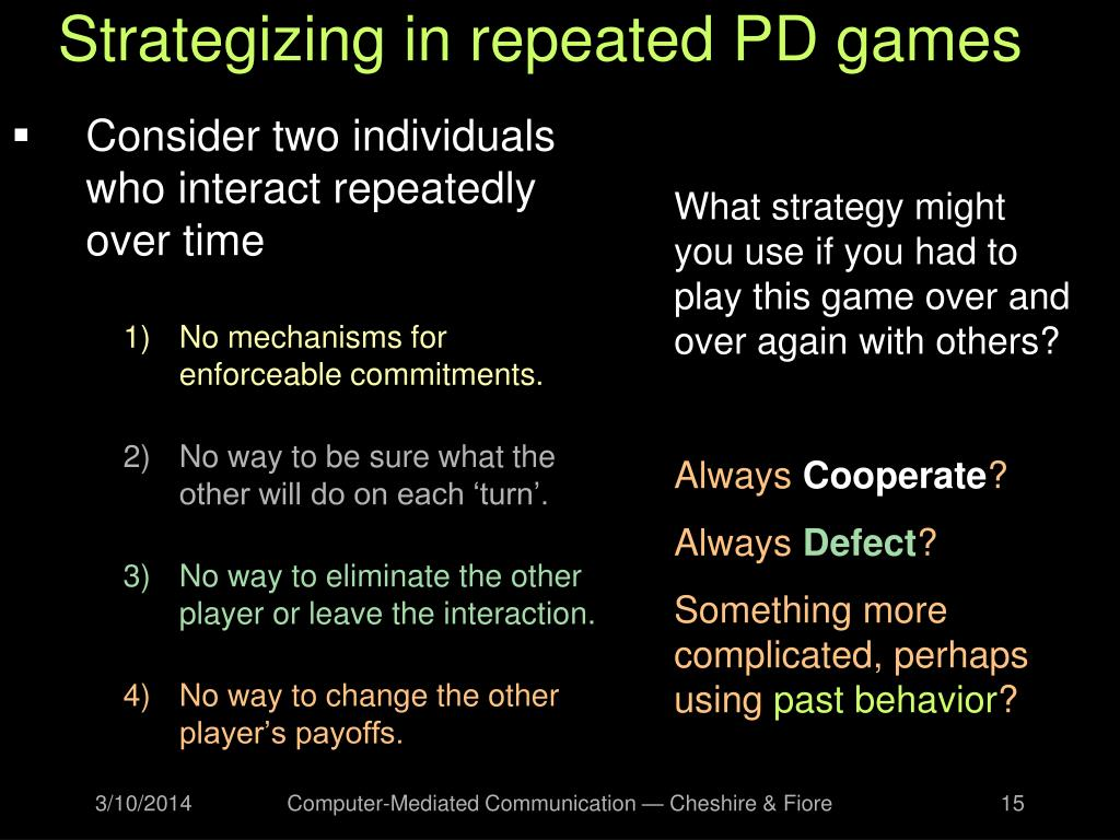 Strategizing in repeated PD games