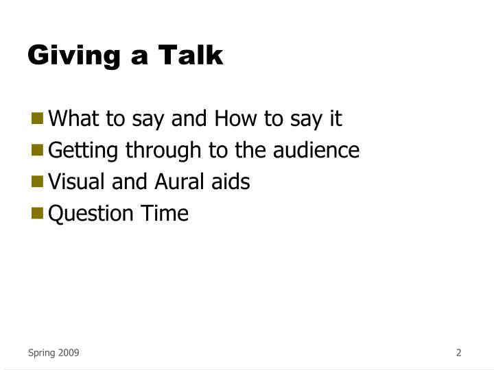 Giving a talk