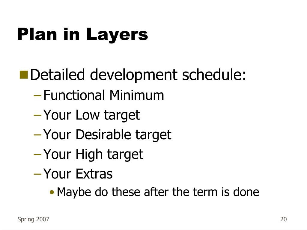 Plan in Layers