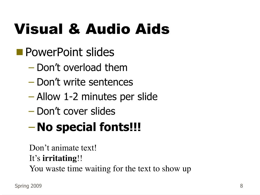Visual & Audio Aids