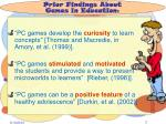 prior findings about games in education