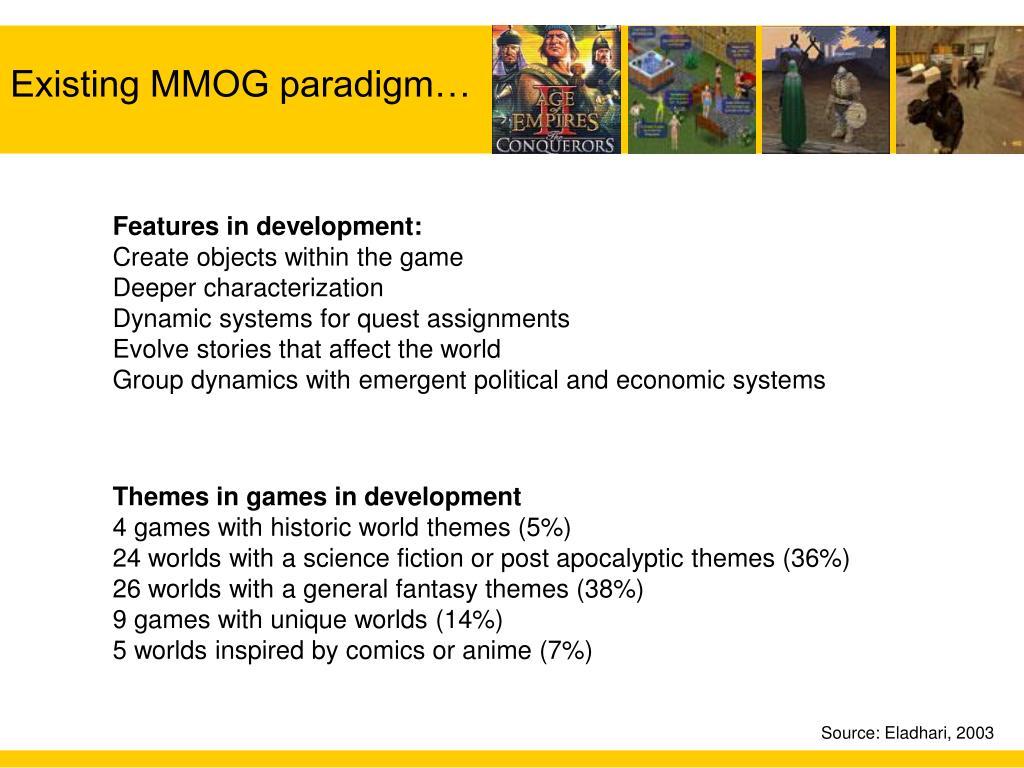 Existing MMOG paradigm…