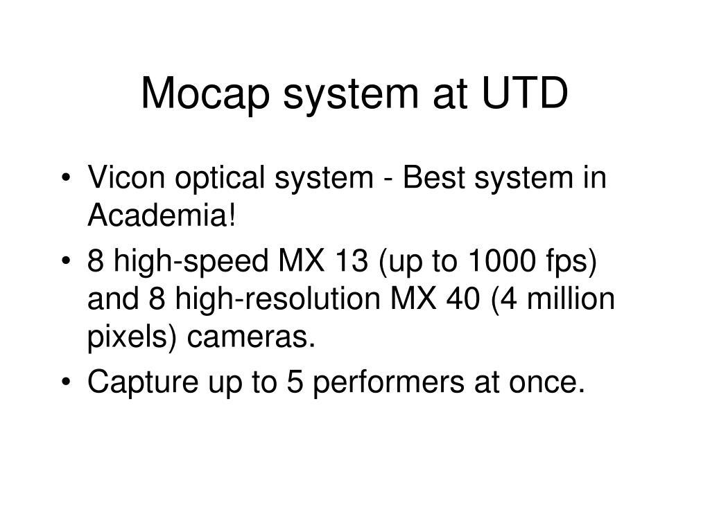 Mocap system at UTD