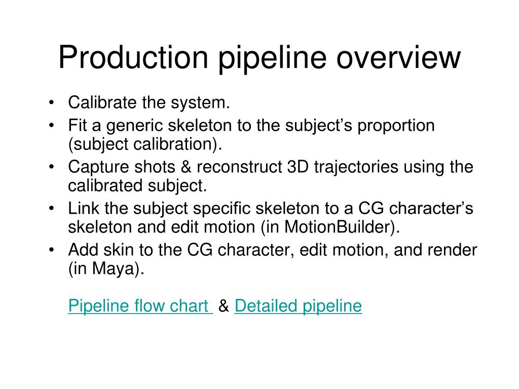 Production pipeline overview