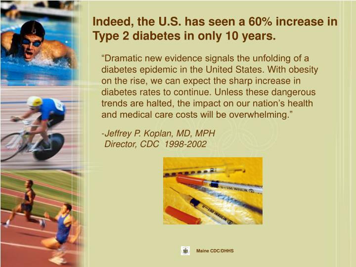 Indeed, the U.S. has seen a 60% increase in Type 2 diabetes in only 10 years.