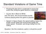 standard violations of game time
