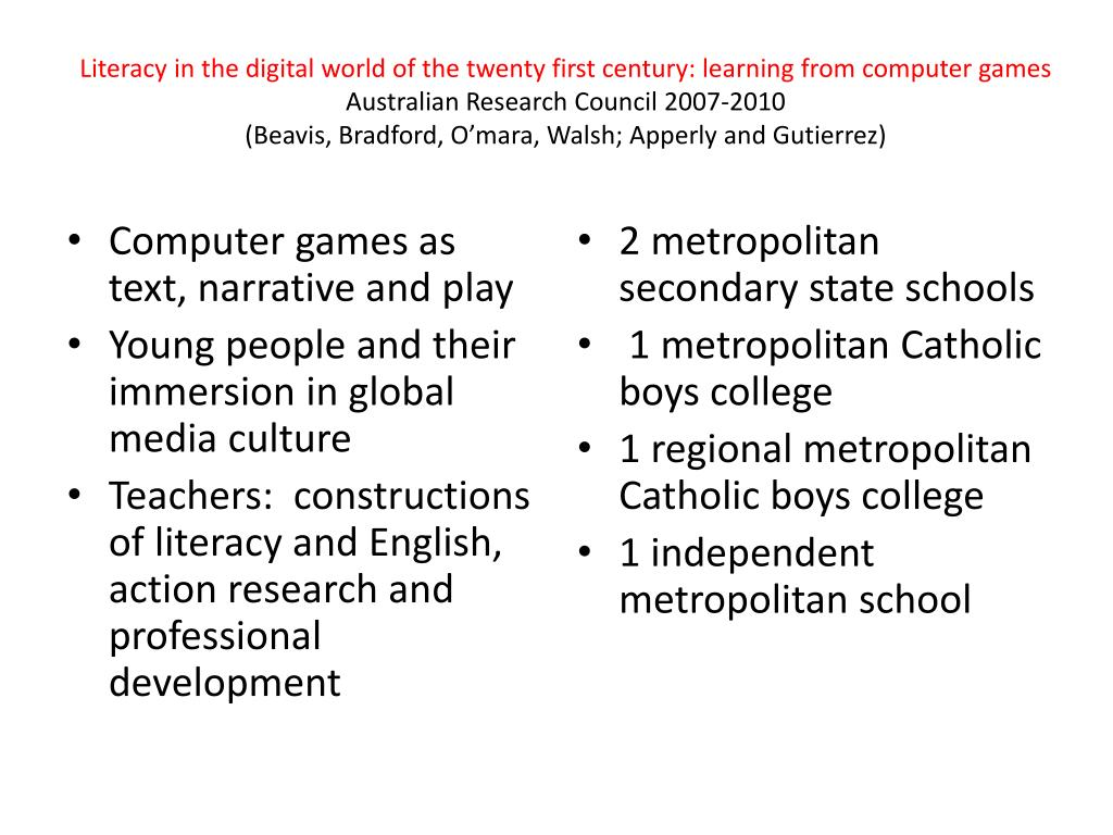 Literacy in the digital world of the twenty first century: learning from computer games