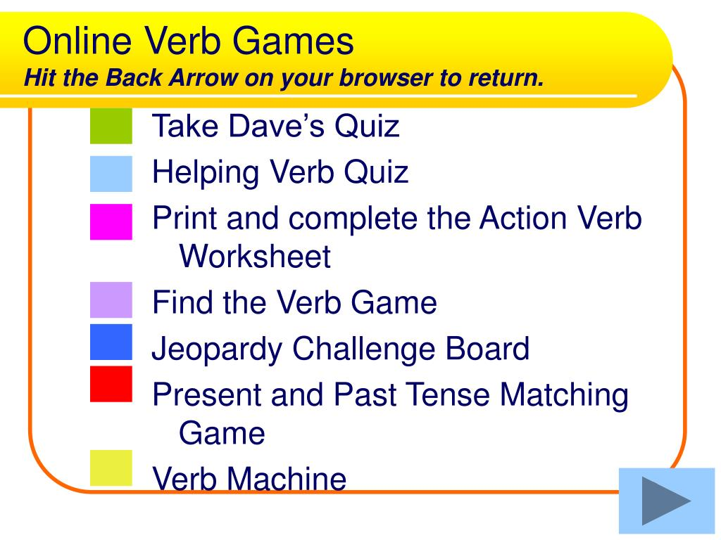 Online Verb Games