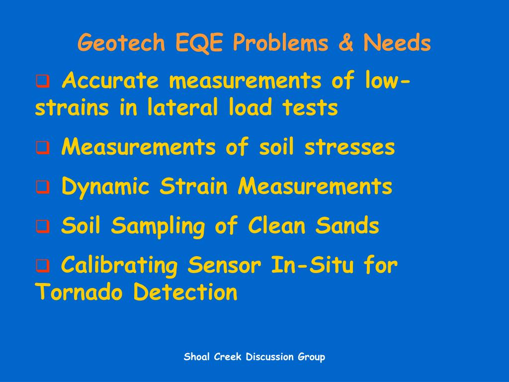 Geotech EQE Problems & Needs