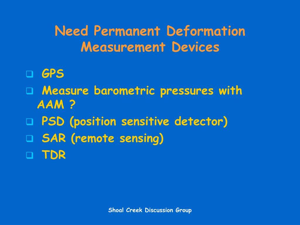 Need Permanent Deformation