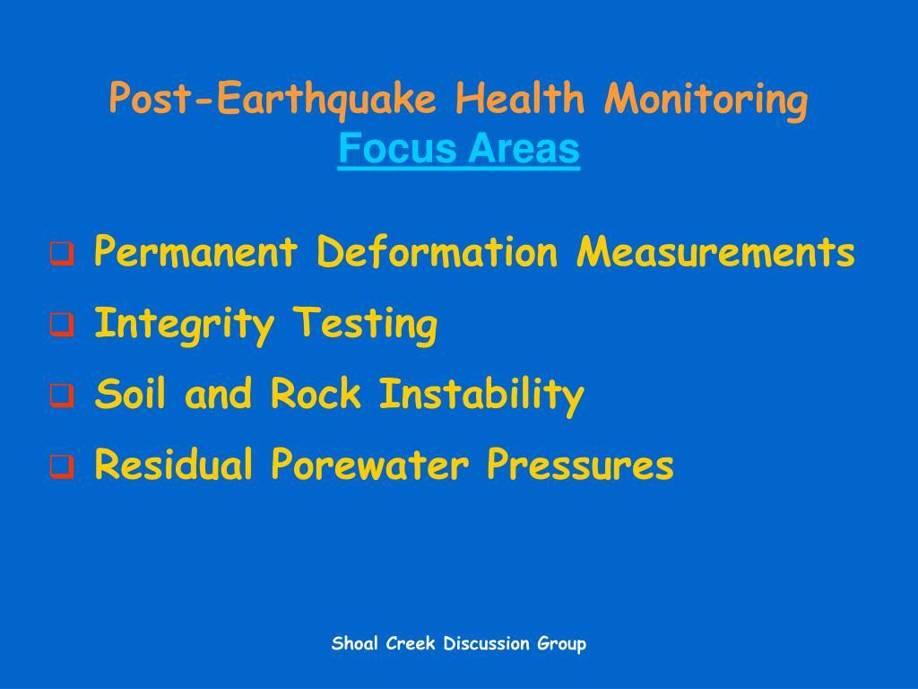 Post-Earthquake Health Monitoring