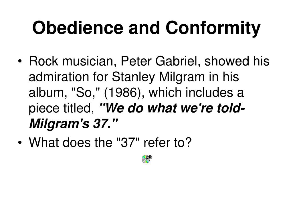 conformity and obedience 2 essay Therefore, conformity is a majority influence (cardwell et al, 2000) what is obedience obedience is the basic structure of social life and authority is a requirement of communal living, but you must remember that not all acts of obedience are aggressive.