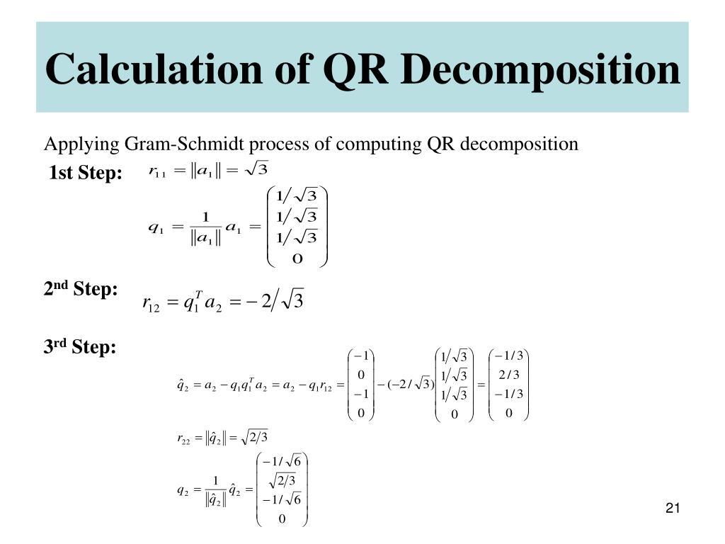 Calculation of QR Decomposition