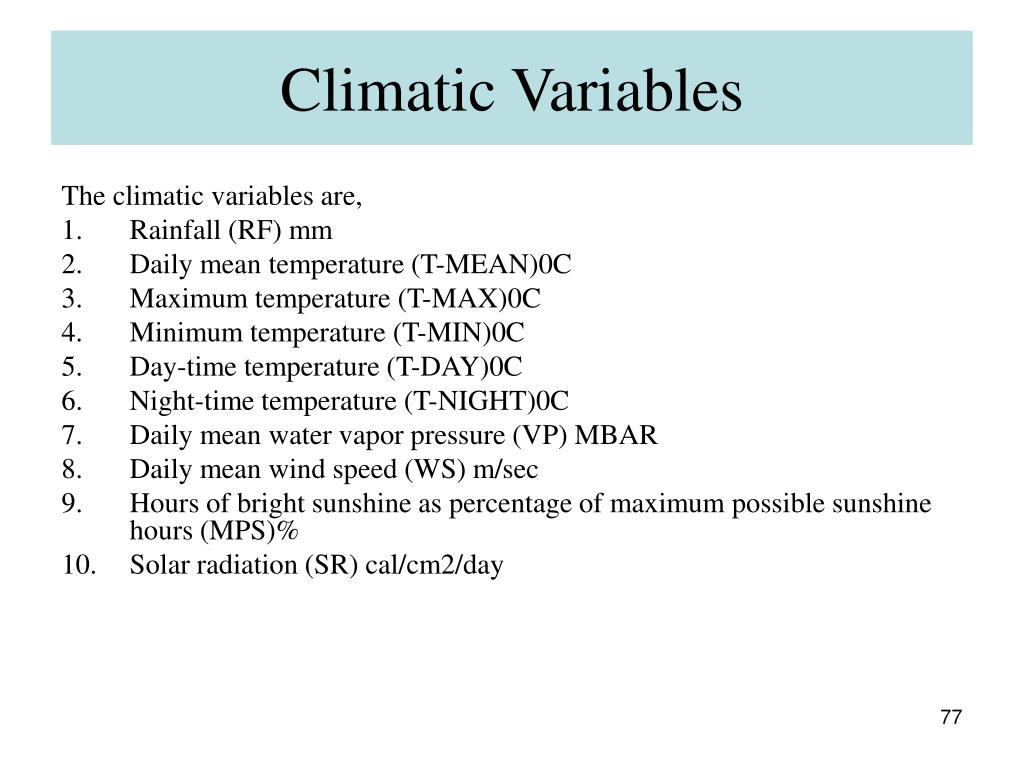 Climatic Variables