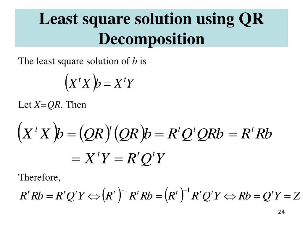 Least square solution using QR Decomposition