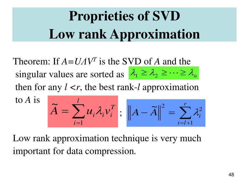 Proprieties of SVD