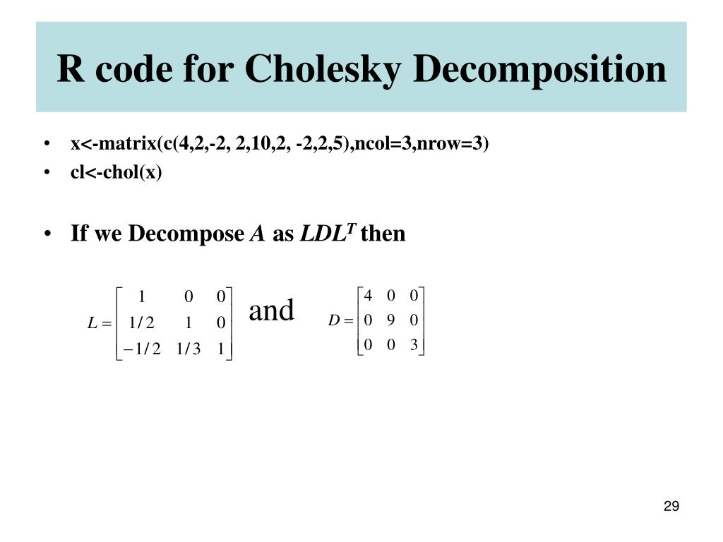 R code for Cholesky Decomposition