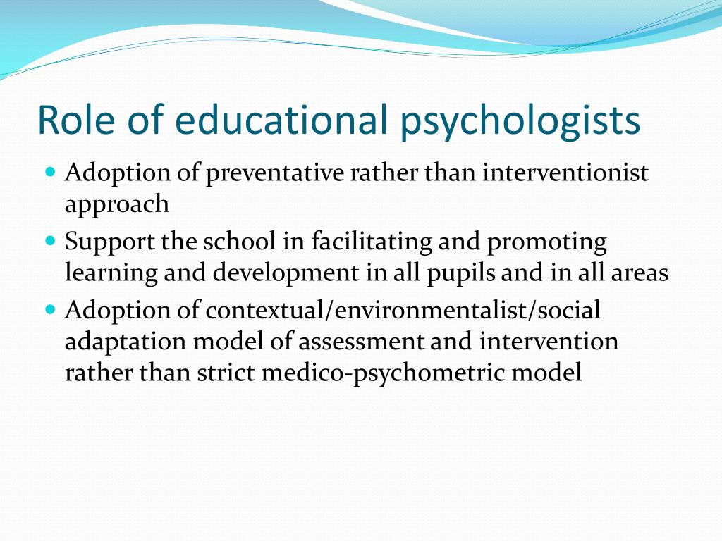 Role of educational psychologists