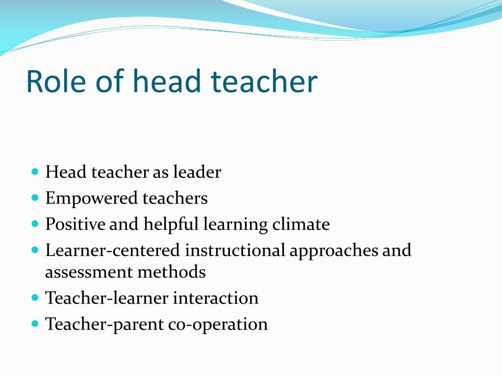 Role of head teacher