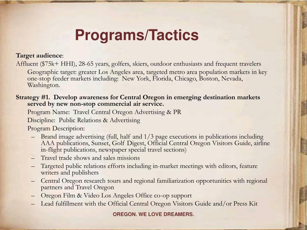 Programs/Tactics