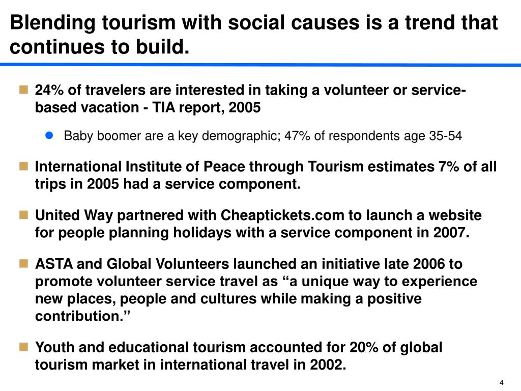 Blending tourism with social causes is a trend that continues to build.