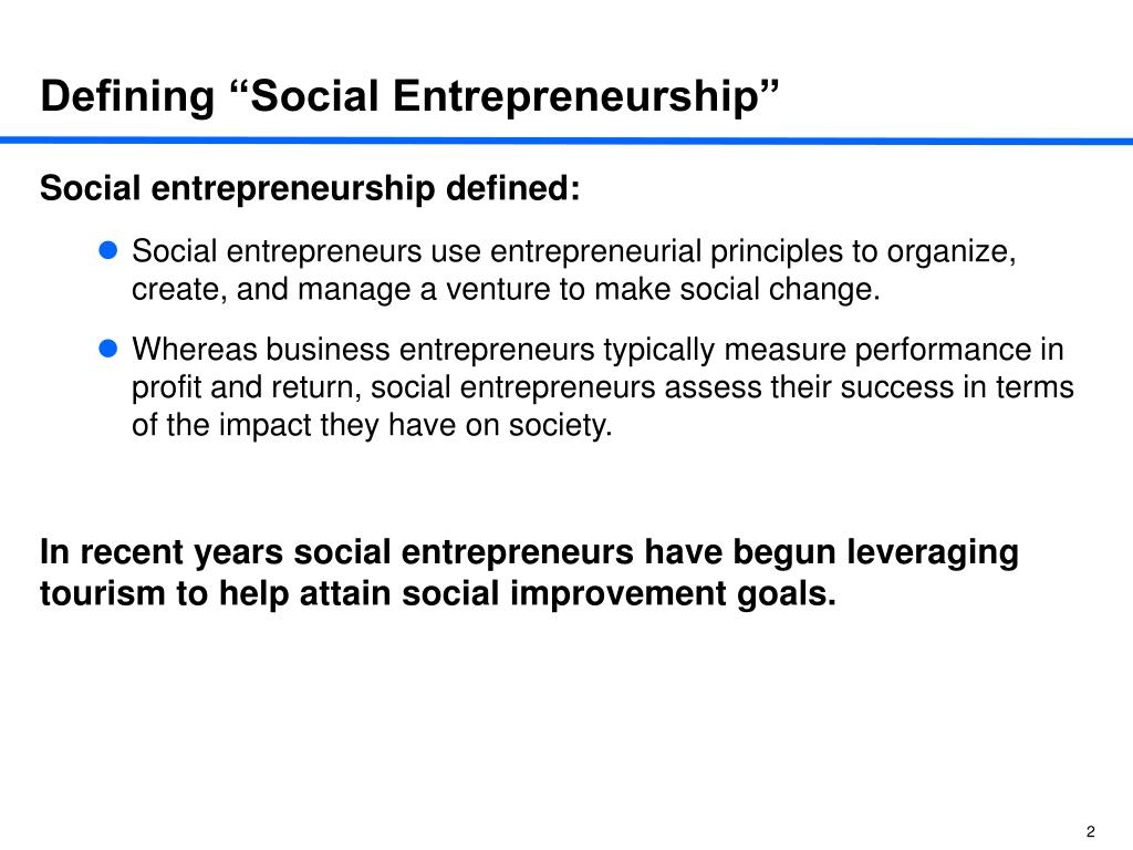 "Defining ""Social Entrepreneurship"""