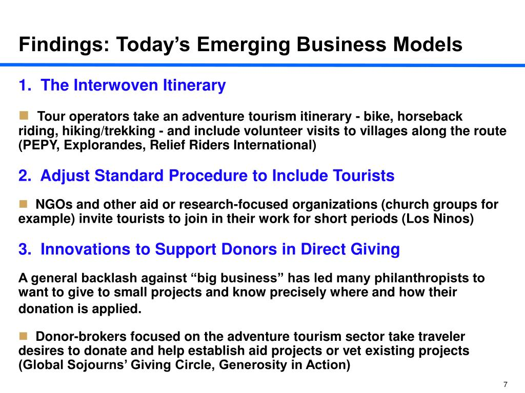 Findings: Today's Emerging Business Models