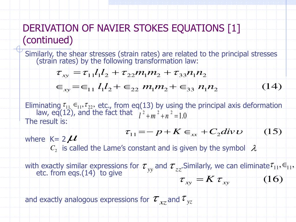 PPT - DERIVATION & SOLUTION METHODS FOR THE STEADY