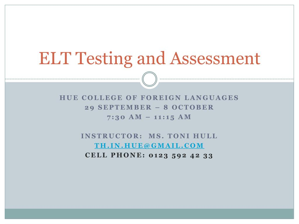 testing and assessment in elt essay