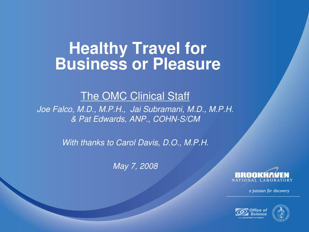 healthy travel for business or pleasure l.