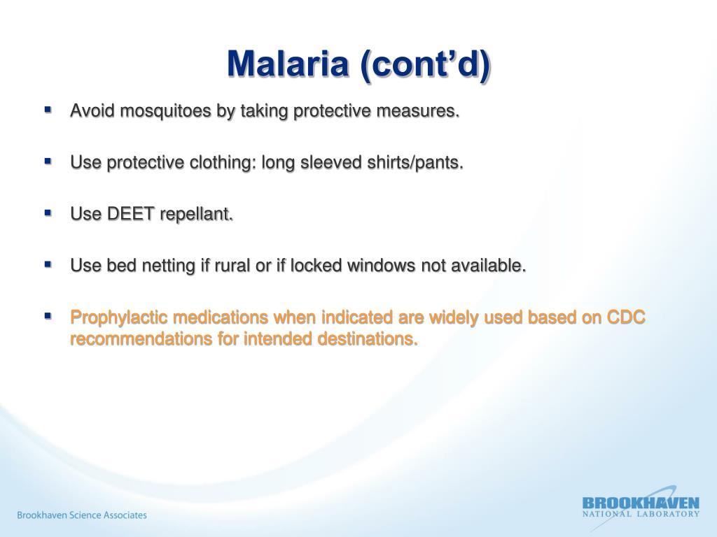 Malaria (cont'd)