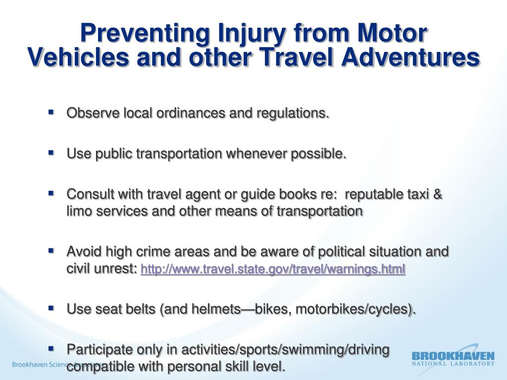 Preventing Injury from Motor Vehicles and other Travel Adventures