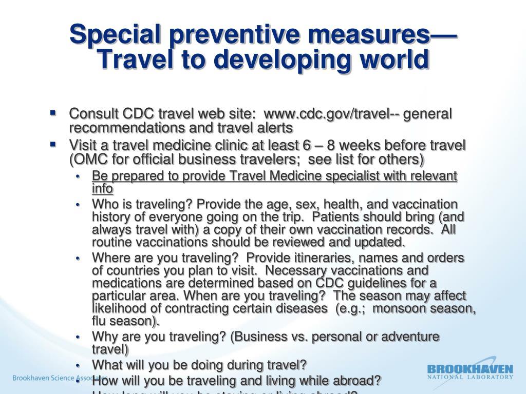 Special preventive measures—