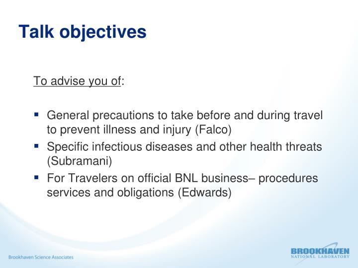 Talk objectives