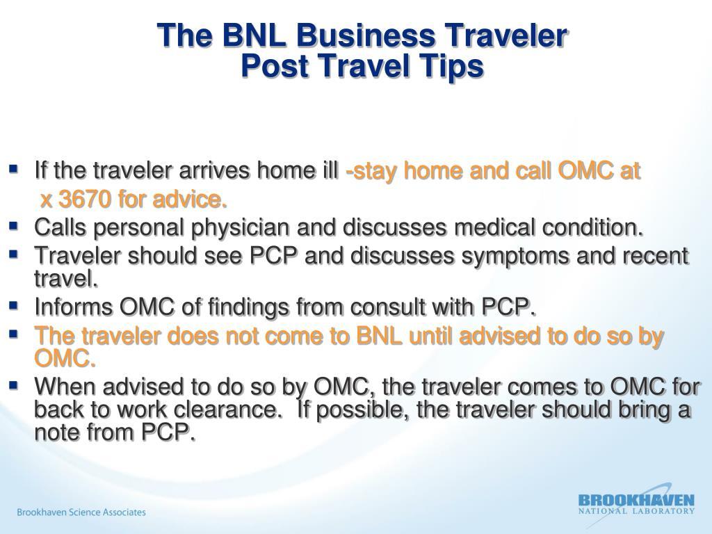 The BNL Business Traveler