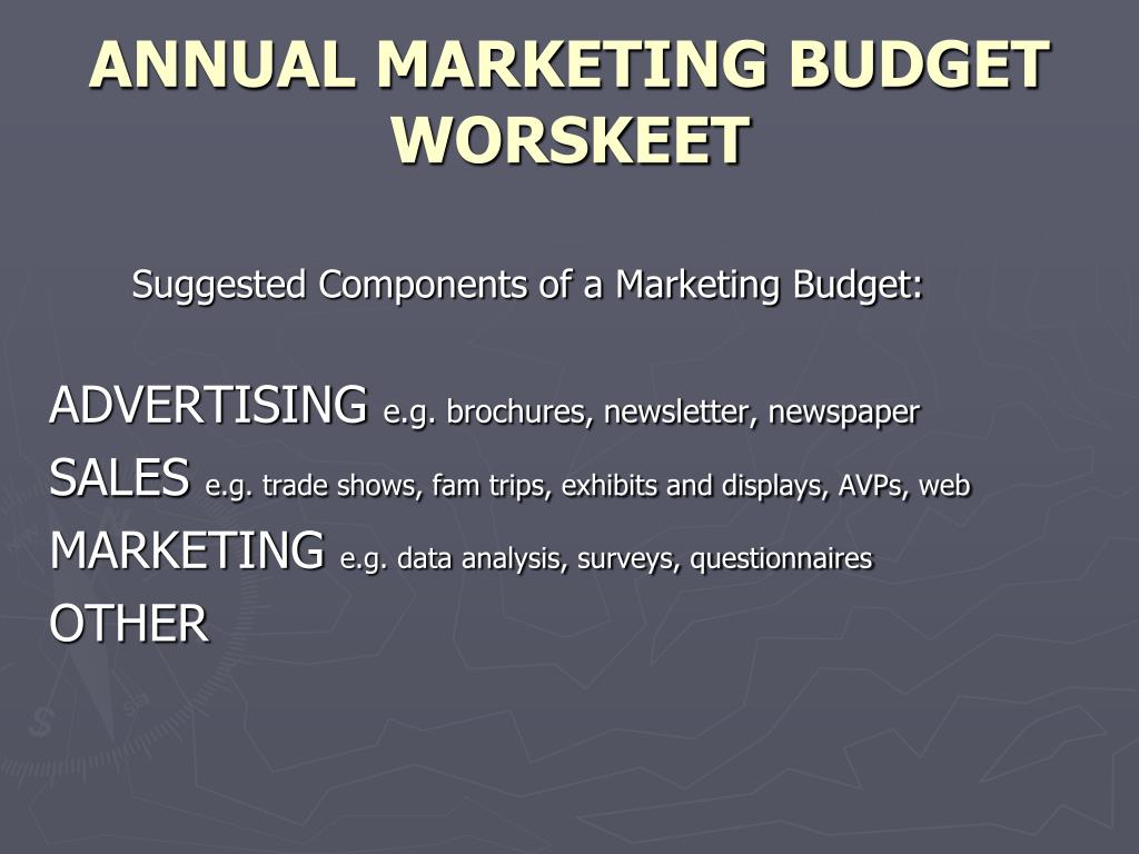 ANNUAL MARKETING BUDGET WORSKEET