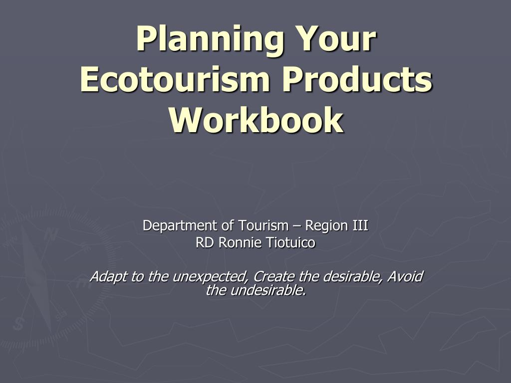 planning your ecotourism products workbook l.