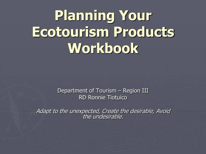 Planning your ecotourism products workbook