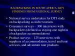 backpacking in south africa key findings from national survey