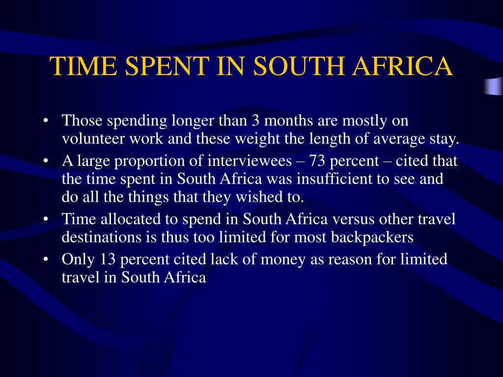 TIME SPENT IN SOUTH AFRICA
