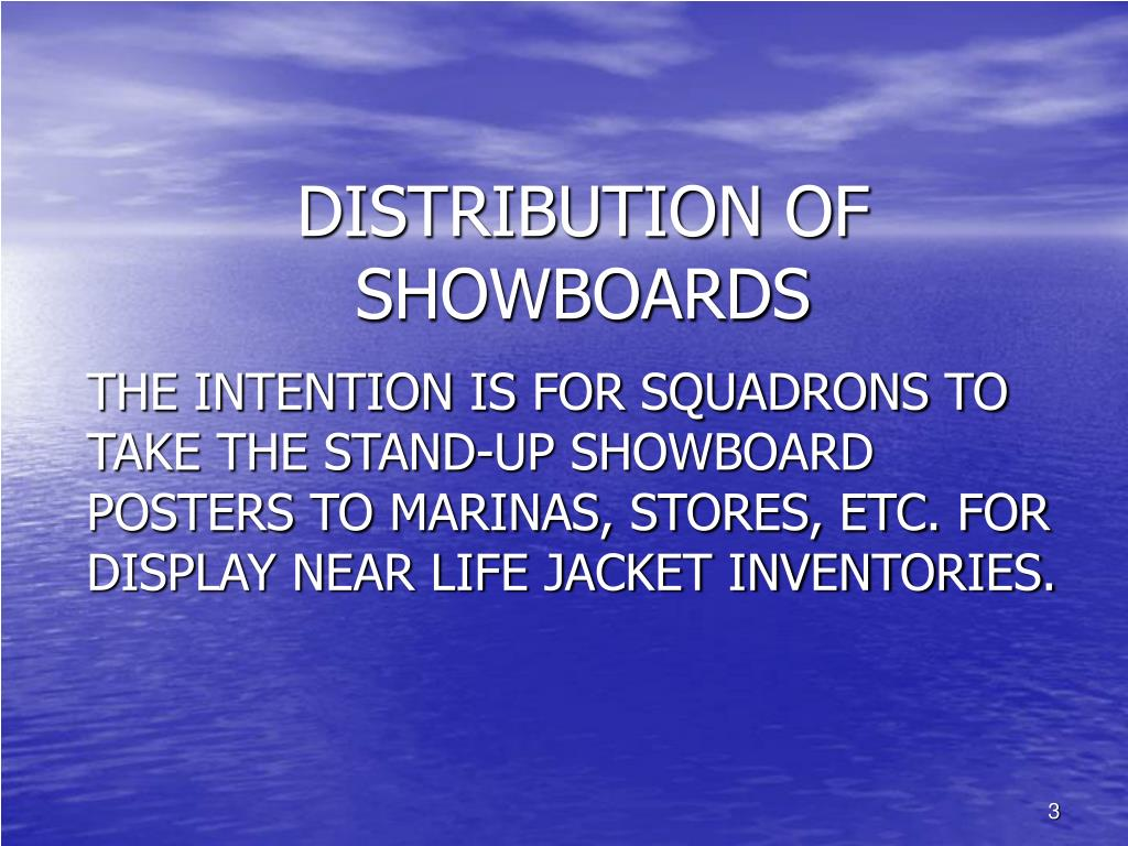 DISTRIBUTION OF SHOWBOARDS