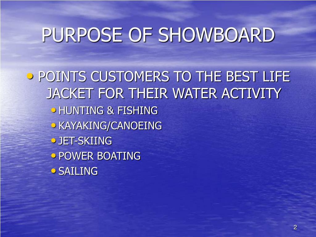 PURPOSE OF SHOWBOARD