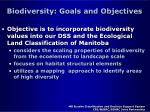 biodiversity goals and objectives