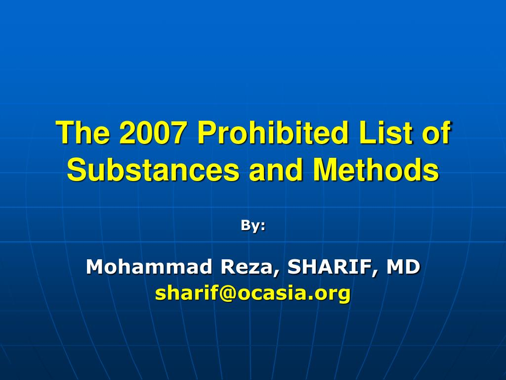 the 200 7 prohibited list of substances and methods l.