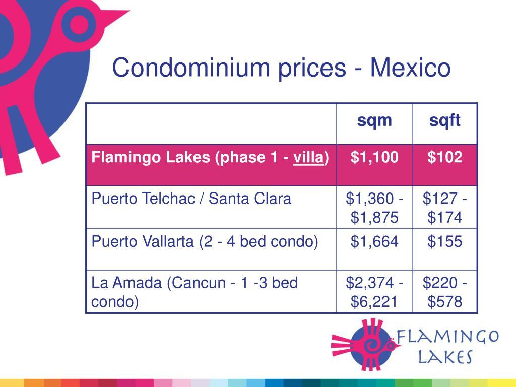 Condominium prices - Mexico