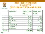 2005 2006 transfer payments excluding theta and rcsl